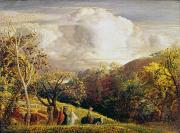 Hills Paintings - Landscape figures and cattle by Samuel Palmer