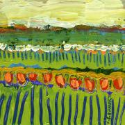 Tulip Paintings - Landscape in Green and Orange by Jennifer Lommers