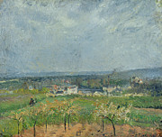 Village Paintings - Landscape in Pontoise by Camille Pissarro