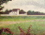 Paysage Paintings - Landscape in the Ile de France by Georges Pierre Seurat