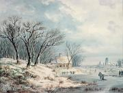 Blizzard Scenes Painting Framed Prints - Landscape in Winter Framed Print by JJ Verreyt