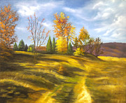 Autumn Drawings Metal Prints - Landscape Metal Print by Lyubomir Kanelov