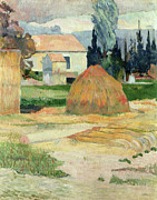 Haystack Paintings - Landscape near Arles by Paul Gauguin