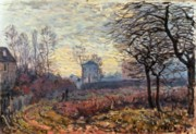 Sisley Framed Prints - Landscape near Louveciennes Framed Print by Alfred Sisley