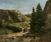 Pine Trees Painting Metal Prints - Landscape near Ornans Metal Print by Gustave Courbet