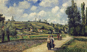 Road Paintings - Landscape near Pontoise by Camille Pissarro