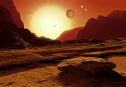 Planetary System Photos - Landscape Of An Alien World, Artwork by Detlev Van Ravenswaay