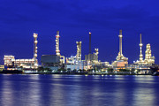 Canal Photo Originals - Landscape of river and oil refinery factory by Anek Suwannaphoom