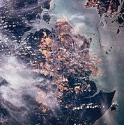 Mystery Tapestries Textiles Prints - Landscape Of The Earth Viewed From Space Print by Stockbyte