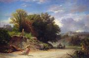 Italian Landscape Paintings - Landscape on the Outskirts of Rome by Jean Achille Benouville