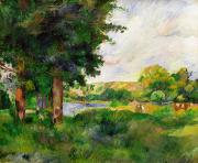 Farm Fields Paintings - Landscape by Paul Cezanne