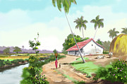 Tamilnadu Paintings - Landscape by Seni