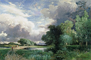 Road Paintings - Landscape with a bridge by Thomas Moran