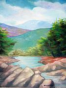 Rill Paintings - Landscape with a creek by Sergey Bezhinets