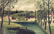 Naive Metal Prints - Landscape with a Fisherman Metal Print by Henri Rousseau
