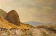 Hayrick Paintings - Landscape with a hayrick by Tigran Ghulyan