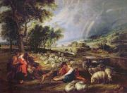 Peter Paul (1577-1640) Framed Prints - Landscape with a Rainbow Framed Print by Rubens
