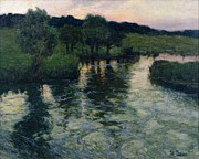 Reflection Of Trees Paintings - Landscape with a River by Fritz Thaulow