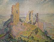 Paul Signac Framed Prints - Landscape with a Ruined Castle  Framed Print by Paul Signac