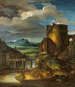 Paysage Paintings - Landscape with a Tomb  by Theodore Gericault