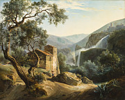 Stone House Framed Prints - Landscape with a waterfall Framed Print by Achille Hector Camille Debray