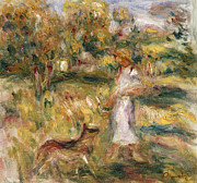 Woman In A Dress Framed Prints - Landscape with a Woman in Blue Framed Print by Pierre Auguste Renoir