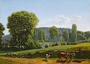 Stately Home Paintings - Landscape with Animals by Lancelot Theodore Turpin de Crisse