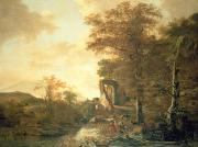 Landscape Paintings - Landscape with Arched Gateway by Adam Pynacker