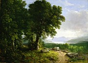 Horse And Wagon Posters - Landscape with Covered Wagon Poster by Asher Brown Durand