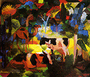 Macke Posters - Landscape with Cows and Camel Poster by Stefan Kuhn