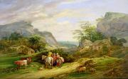 Country Cottage Framed Prints - Landscape with figures and cattle Framed Print by James Leakey