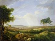 Hills Paintings - Landscape with Figures  by Captain Thomas Hastings