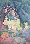 Oak Tree Paintings - Landscape with Goats by Henri-Edmond Cross