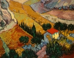 Farmhouse Paintings - Landscape with House and Ploughman by Vincent Van Gogh