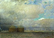 Field. Cloud Painting Prints - Landscape with Huts Print by Leopold Karl Walter von Kalckreuth