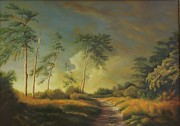 Peisaj Paintings - Landscape with pine trees  by Dan Scurtu