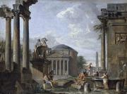 Ruins Metal Prints - Landscape with Roman Ruins Metal Print by Giovanni Paolo Panini