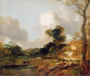 Pastoral Art - Landscape with Stream and Weir by Thomas Gainsborough