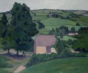 Farm Scenes Posters - Landscape with Thatched Barn Poster by Robert Polhill Bevan