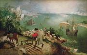 Mythology Painting Posters - Landscape with the Fall of Icarus Poster by Pieter the Elder Bruegel