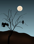 Black Digital Art Framed Prints - Landscape with Tree Vultures and Moon Framed Print by Dave Gordon