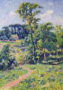 Landscapes Framed Prints - Landscape with trees and a path leading to a cottage  Framed Print by Henry Moret