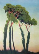 Fauvism Posters - Landscape with Trees Poster by Felix Edouard Vallotton