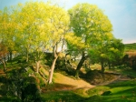 North Wales Paintings - Landscape with Trees in Wales by Harry Robertson