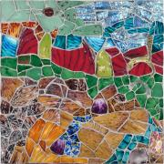 Mosaic Mixed Media Originals - Landscape with Two Rivers by Jonathan Mandell