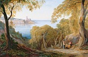 Mediterranean Landscape Framed Prints - Landscape with View of Lerici Framed Print by Edward Lear