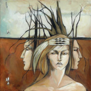 Headdress Paintings - Landscaped Headdress by Jacque Hudson-Roate