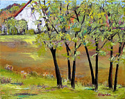Rural Landscapes Painting Prints - Landscapes Art - Hill House Print by Blenda Tyvoll
