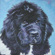 Landseer Paintings - Landseer Newfoundland puppy by Lee Ann Shepard