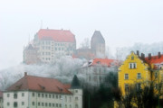 Gloomy Prints - Landshut Bavaria on a Foggy Day Print by Christine Till